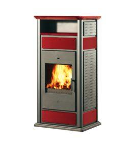 Edilkamin Termostufa a legna WARM con scaldavivande 19,7 kW ceramica rossa