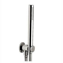 Kit duplex fisso tondo con presa acqua, doccetta e flessibile silver cm. 150