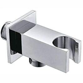 Supporto rubinetteria quadrato per doccetta con presa acqua in ottone cromato