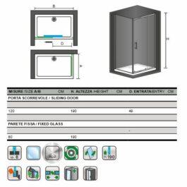 POLARIS box doccia cm. 80×120