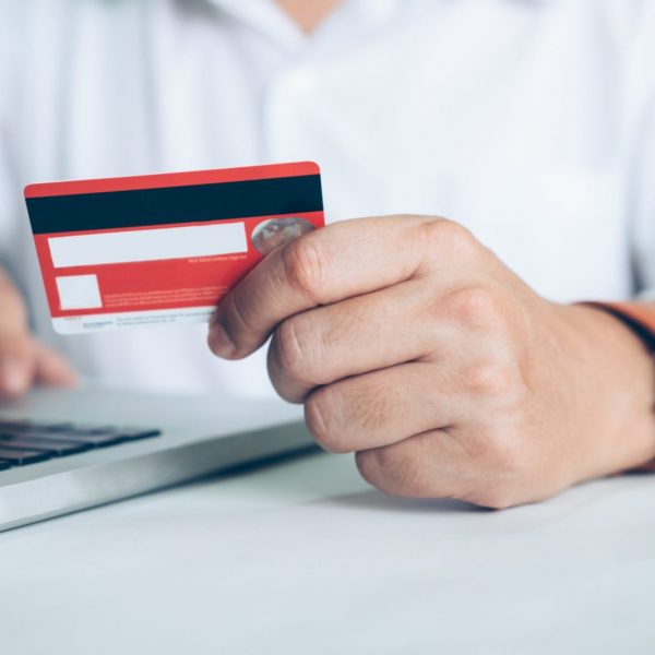 Business online shopping concept. People shopping and pay by credeit card